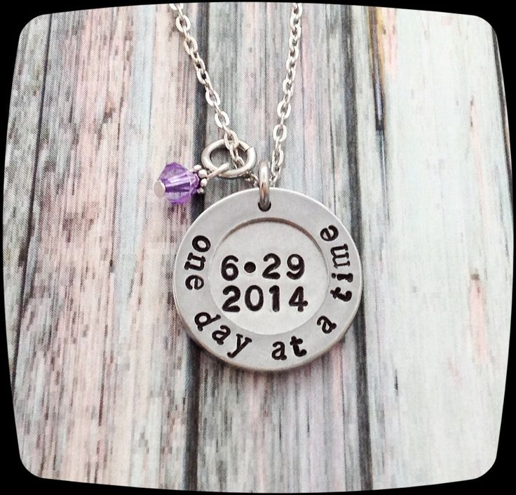 Sobriety Gift, One day at a time, Sobriety, Addiction Recovery Necklace, Sobriety Date Jewelry by ThatKindaGirl on Etsy