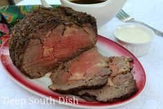 A boneless prime rib roast made with a rub of olive oil, herbs, spices and seasonings and served with an au jus. Offer an optional sour cream horseradish sauce at the table.