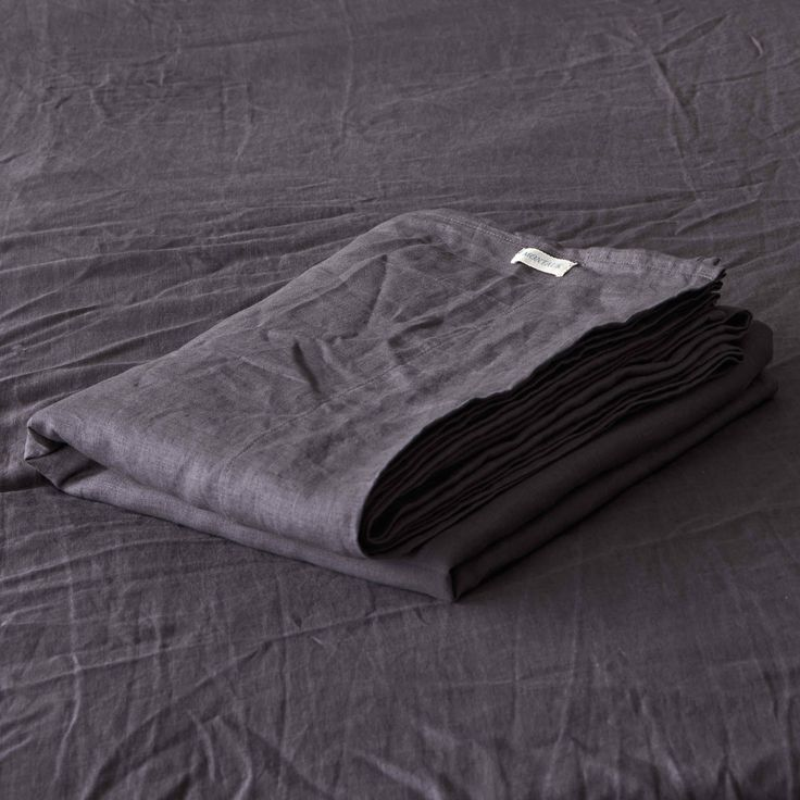 Volcanic Ash Charcoal Pure Linen Flat Sheet by Montauk Style