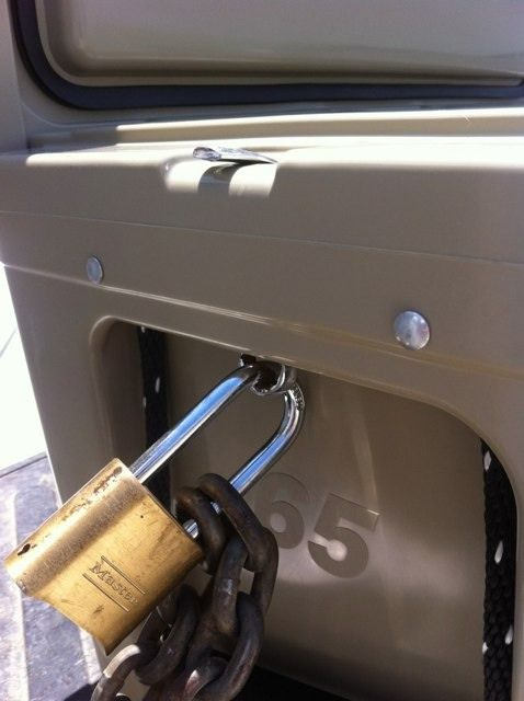 Homemade Yeti Lock! An old wrench cut, bent and locked up tight!