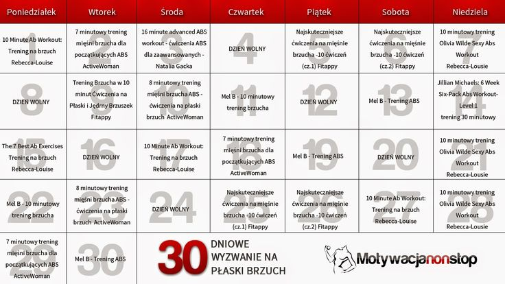 30 dniowe wyzwanie na płaski brzuch