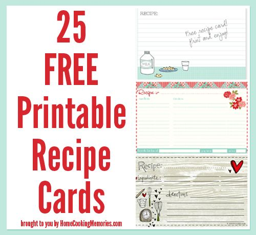25 Free Printable Recipe Cards - Home Cooking Memories. I should really start keeping track of the dishes I've made off Pinterest that I have an interest in making again! :)