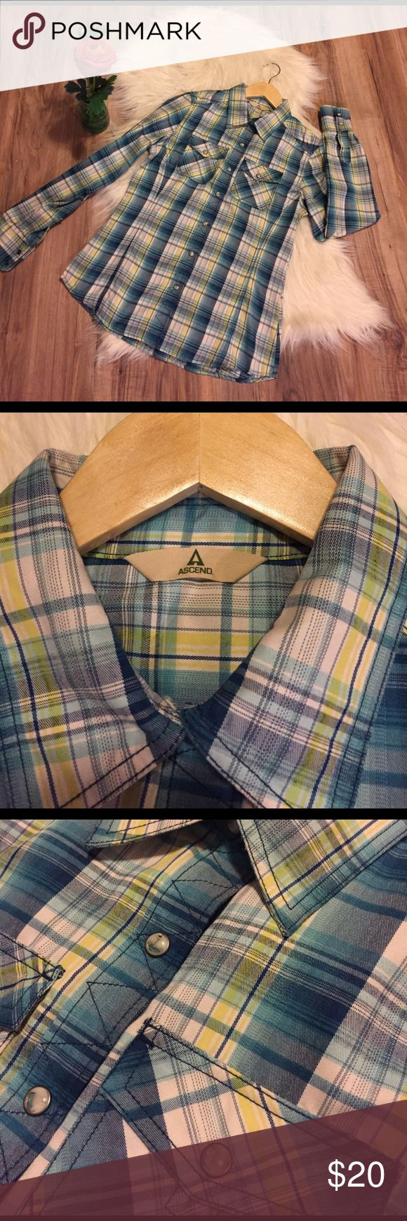 Blue & Green Plaid Shirt Ascend size small. Pearl snap Button Down shirt. Never worn and smoke free home Ascend Tops Button Down Shirts