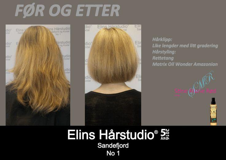 halvlangt blondt hår til kort frisyre like lengder med litt gradering