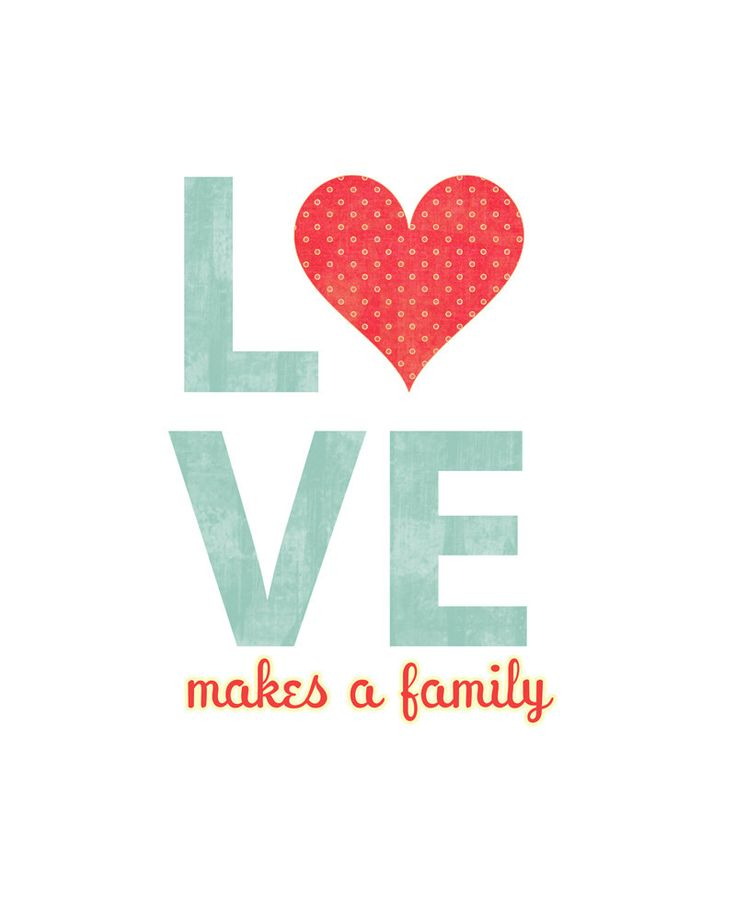 Love Makes a Family - 8x10 Print - Blue Clean Simple Love with Heart. $15.00, via Etsy.