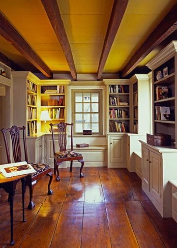 This is what I need for studio side of shop,Wide plank wood floor, built ins and beams!