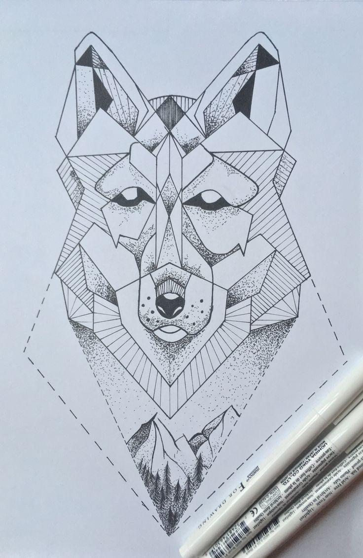 wolf, dot, mountains @katekallinn