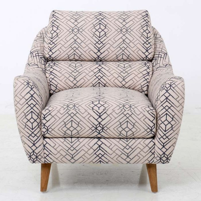A Navy Geometric Pattern On A Mid Century Modern Chair With Flared