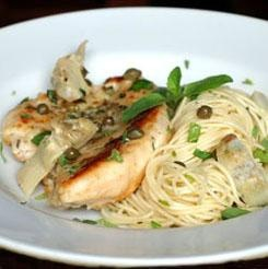 Chicken with Artichokes and Angel Hair Pasta