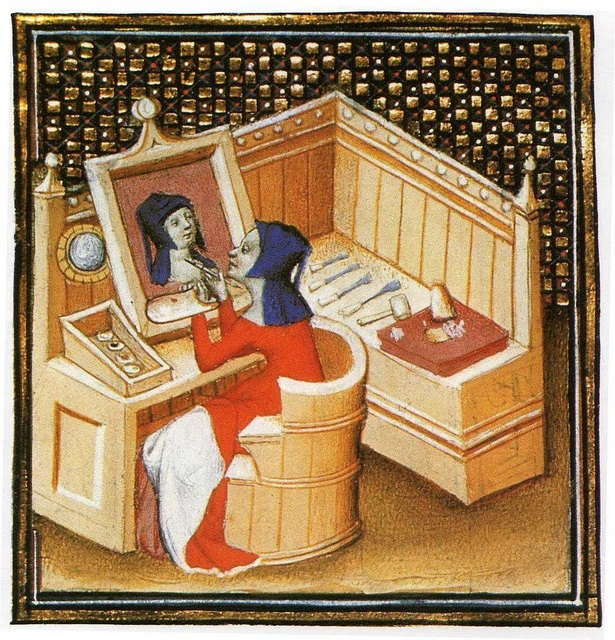 Medieval Female Artist. Painting. Art Studio. Medieval Art Materials. - Autoportrait sur bois - Boccace - Le livre des cleres et nobles femmes - XV° by Cea., via Flickr