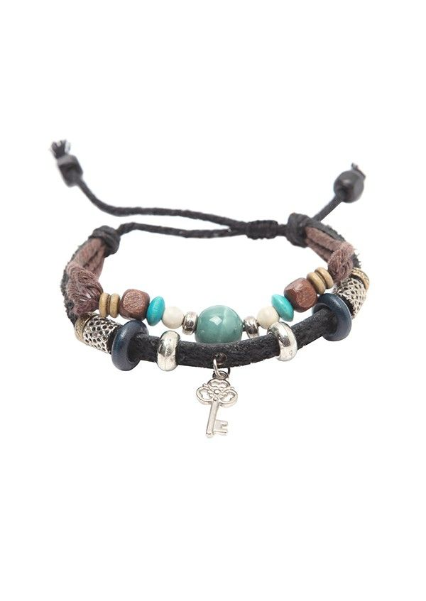 $9.99 Key Beaded Zen Leather Rope Bracelet