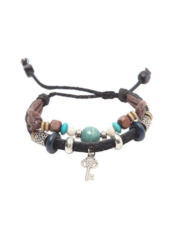 $9.99 Key Beaded Zen Leather Rope Bracelet
