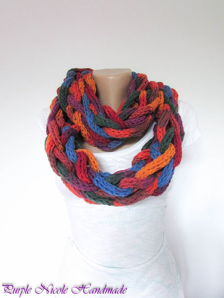 Colored Cylinders - Handmade Women Tubes Comforter / Neckwarmer / Scarf / Crochet Necklace by Purple Nicole (Nicole Cea Mov), every tube is crocheted by fingers, then all of them are braided together.
