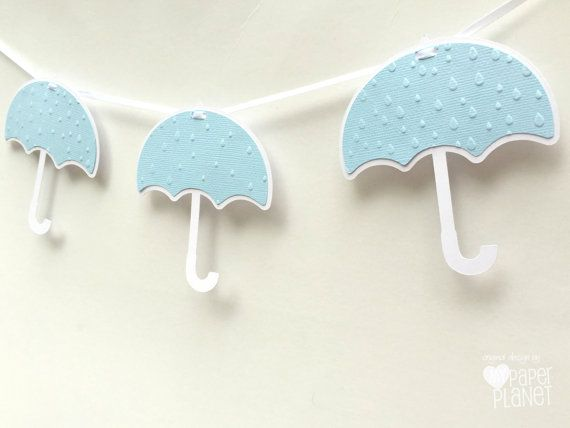 Blue Umbrella baby shower banner. Baby sprinkle, raindrop embossing, bunting, banner, dessert table banner. Pastel blue, Party decor. by MyPaperPlanet