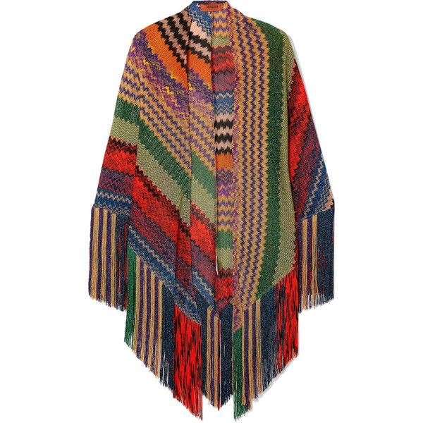 Missoni Fringed metallic crochet-knit wrap ($715) ❤ liked on Polyvore featuring accessories, scarves, red, holiday scarves, red scarves, knit scarves, fringe scarves and red shawl