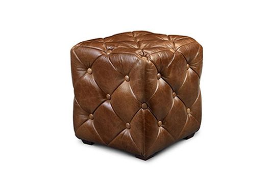Vintage Leather Oned Cube Stool