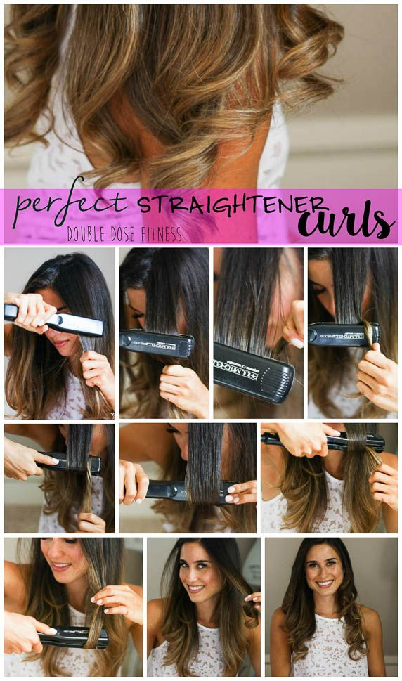 How To: Easy Straightener Curls - a super easy easy to get easy, silky curls with a straightener that will last all day long!   Double Dose Fitness