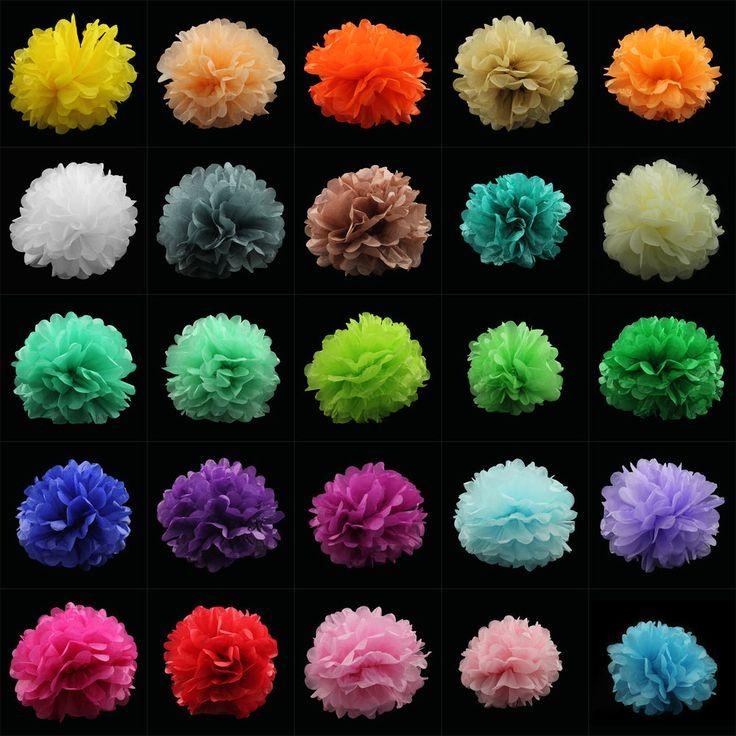 """10""""Pom Pom Papier Ball Blume DIY Hochzeit Geburtstag Party Dekoration Kugel 25cm"""