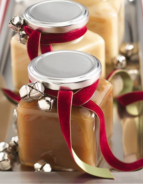 DIY Gifts - Homemade Caramel--want to remember the jingle bells and red ribbon, too