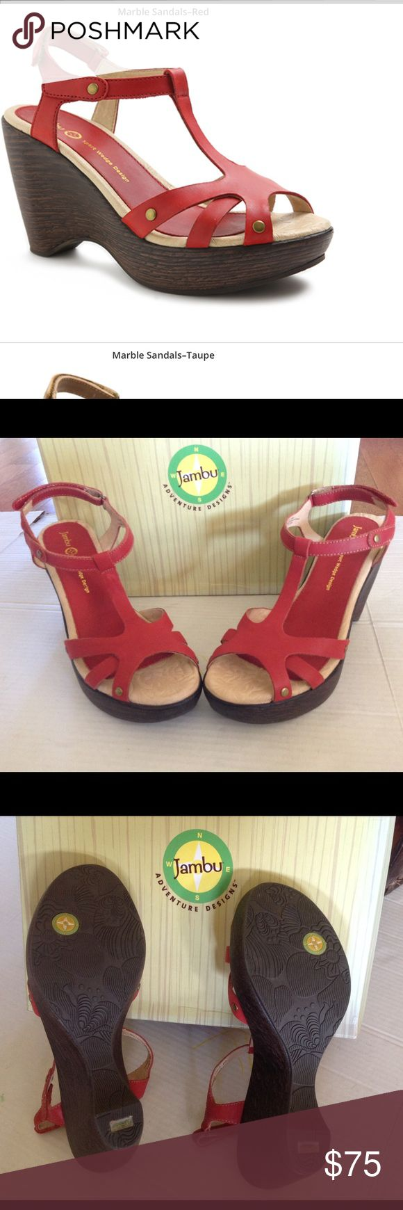 """SALE  OFFER 🆕JAMBU MARBLE  SANDAL (Sz 9) Jambu adventure designs marble red women's sandal . A lightweight T - strap sandal is lifted with a slim wedge and fitted with a contoured memory - foam footbed for all day comfort . The approximate heel height is 3 3/4 """" .It has adjustable strap with hook and loop closure . ITS BRAND NEW WITH TAG AND COMES WITH ITS ORIGINAL BOX . Jambu Shoes Sandals"""