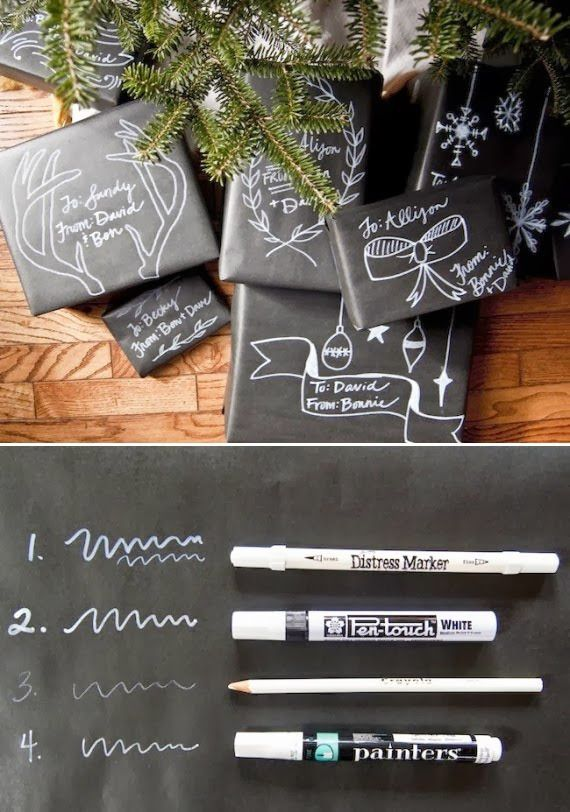 Chalkboard gift wrapping idea- white sharpie on black paper would be cute too