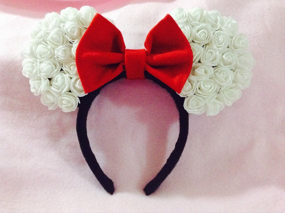 Minnie Mouse Ears white rose by CrazyBeautifulCreati on Etsy
