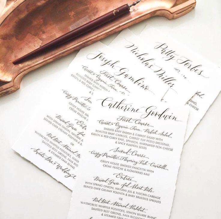 "107 Likes, 4 Comments - Poste and Co. (@poste_co) on Instagram: ""Beautifully calligraphed letterpress menus to double as place cards for an upcoming @korakia…"""