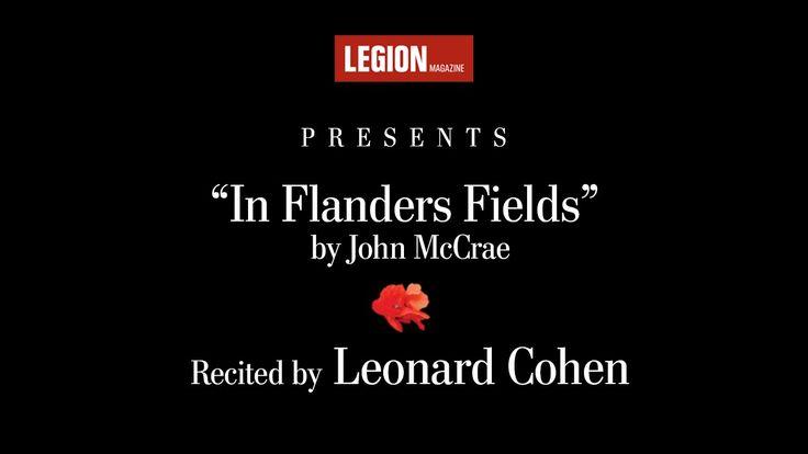 "#LestWeForget ->> Leonard Cohen recites ""In Flanders Fields"" by John McCrae | Legion Magazine"