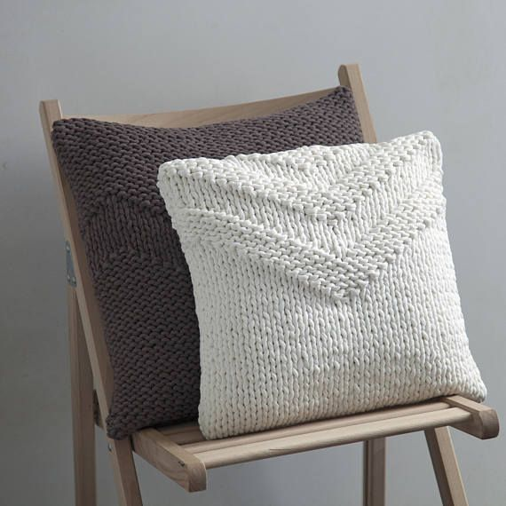 Set of 2 Knitted pillow cases Hand knitted Brown cushion