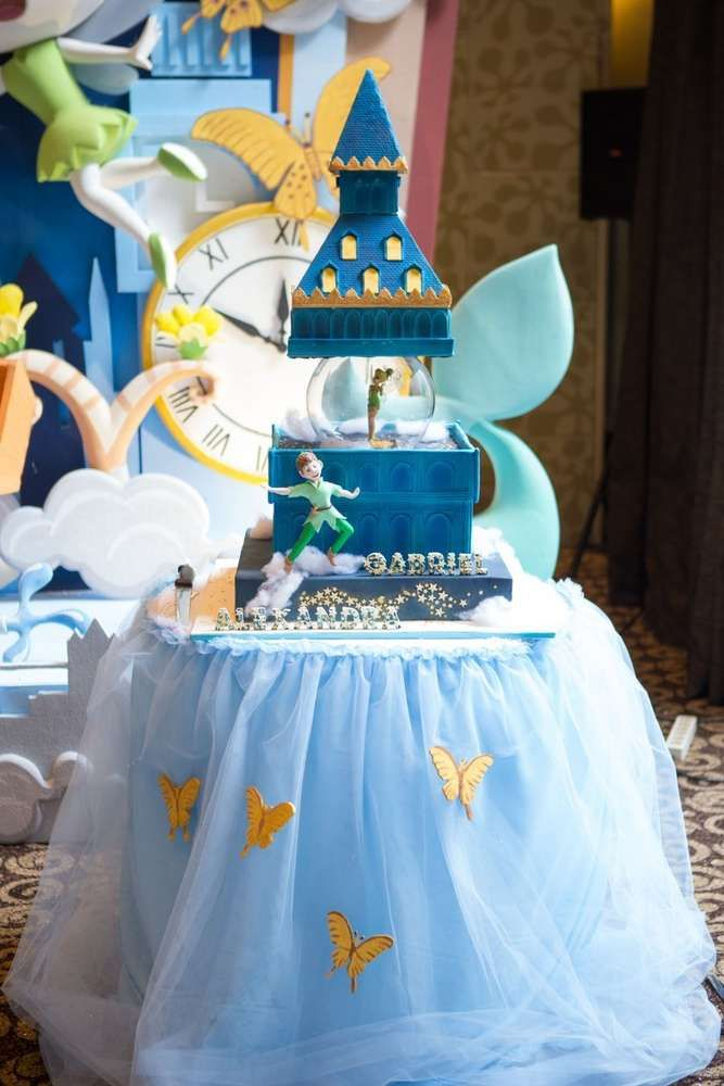 Wow!!! Just how fantastic is this Twin 'Take me to Neverland' 1st Birthday cake at this Peter Pan inspired party?! Amazing! See more party ideas at CatchMyParty.com