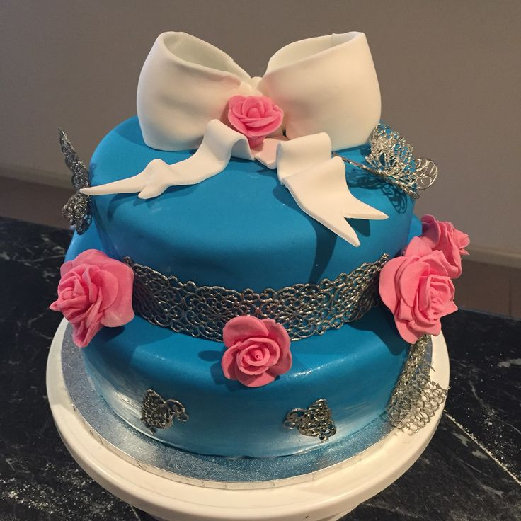 50th birthday cake #silverlace #roses