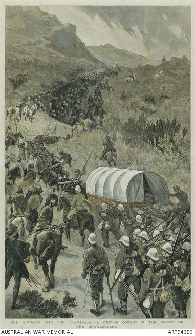 The Advance into the Transvaal - A British Convoy in the pases of the Drakensberg. First Boer War from The Graphic 12th February 1881