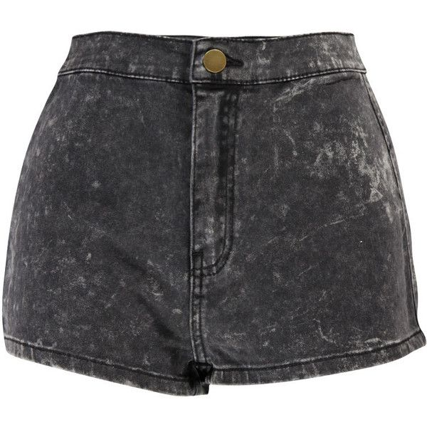 Boohoo Liberty Acid Wash High Rise Disco Shorts (99 BRL) ❤ liked on Polyvore featuring shorts, bottoms, high rise shorts, high waisted disco shorts, high rise acid wash shorts, acid wash shorts and high waisted cotton shorts