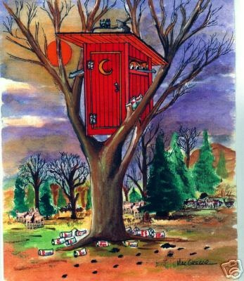 Art Print Redneck Deerhunter Outhouse Bow Hunting Deer Bath Tree Stand Game | eBay