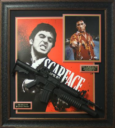 Al Pacino Signed Photo with Scarface Poster & Replica Rifle Display.