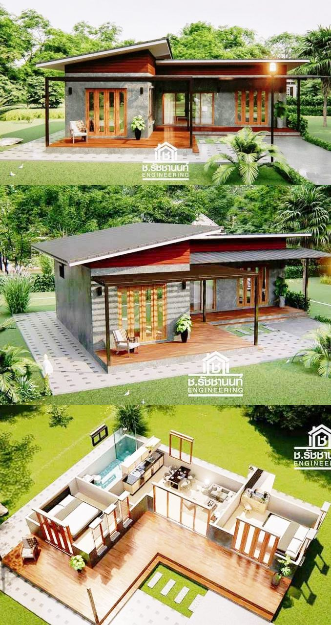 Modern Style Home Design With 2 Bedrooms Wooden House Design Terraria House Design House Designs Exterior