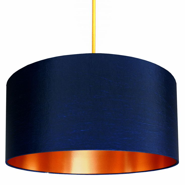 Add a touch of glamour with this midnight blue and copper made to order lampshade. Statement lighting from Love Frankie.  Love Frankie lampshades are made using a high quality flame retardant PVC and an extensive range of sumptuous fabrics. Our frames are made with a 39mm European ring fitting with a 29mm UK reducing ring already fitted that will pop in and out if needed. Meaning all lampshades are suitable for both UK or European lamps or flex and fittings.  Lampshade Sizing & Fittings: ...