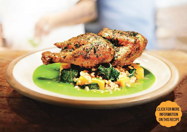 Skillet-Roasted Chicken with Farro and Herb Pistou ...