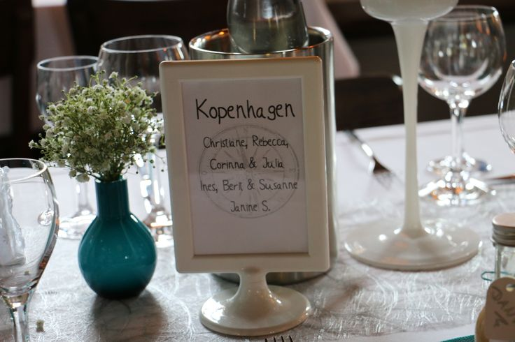 """Städtenamen statt Tischnummern Hochzeitsthema """"Reisen"""""""