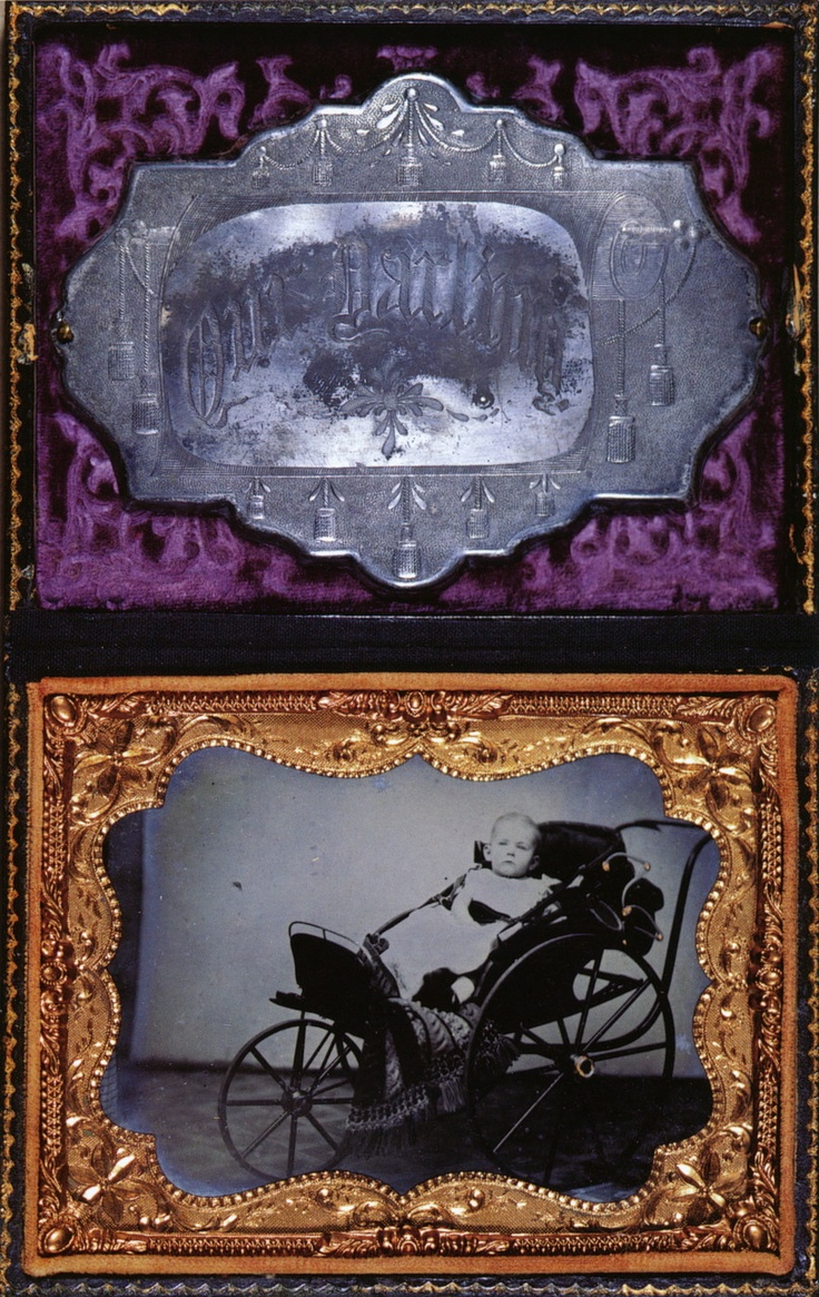 Child in His Carriage (taken before death), Coffin Plate on Velvet, Ambrotype, ca. 1856.