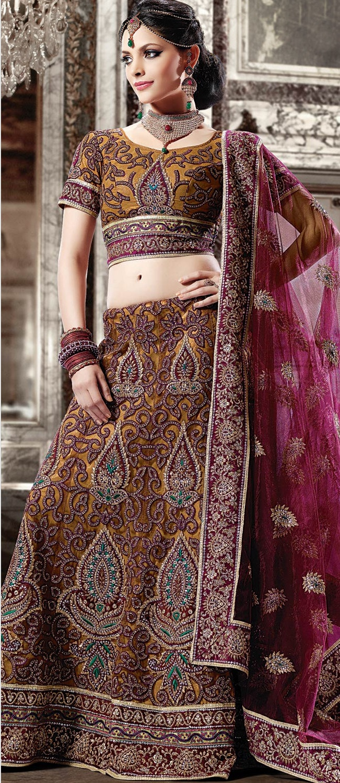 Dark Beige and #Maroon Shimmer Net A Line #Lehenga Choli With #Dupatta @ $210.03