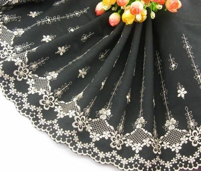 Delicate Embroidered Flower on Black Cotton Lace Trim for DIY