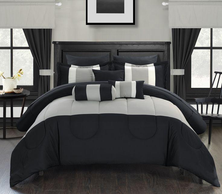 chic home 20piece whitehall bedinabag black comforter set