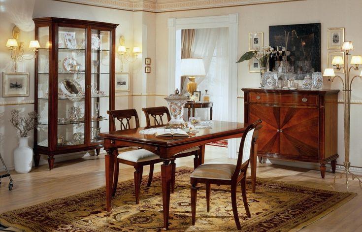 Sala da pranzo con tavolo rettangolare cristalliera e credenza art. 797x