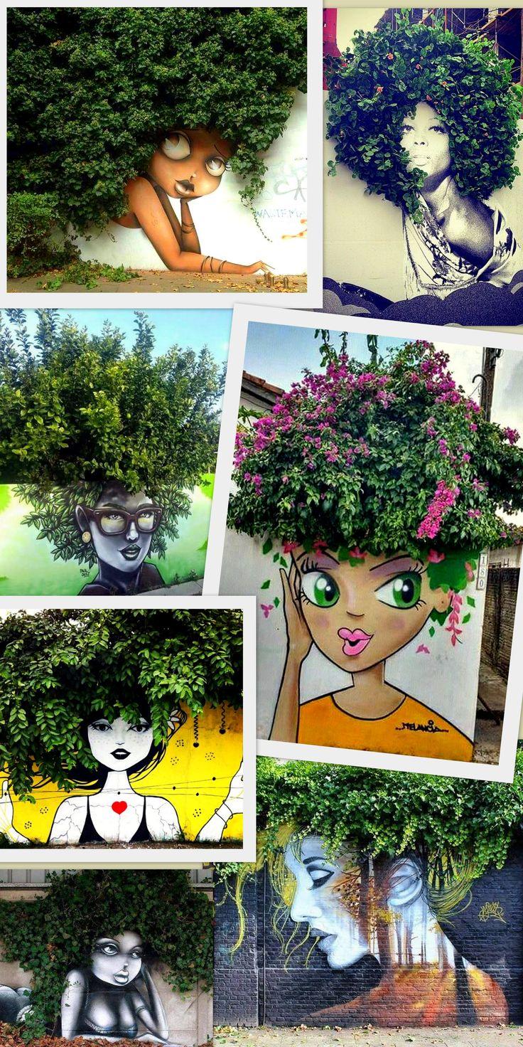 Intervenção arte urbana: a arte que se mescla com a natureza. Girl power, black power. Urban art intervention.