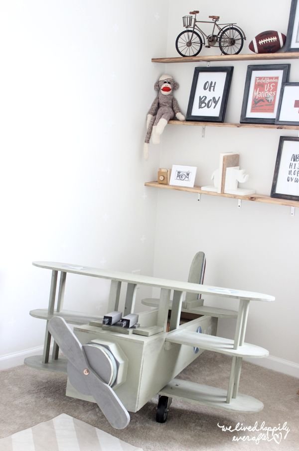 Industrial Baby Nursery... This Airplane was a DIY!!!!