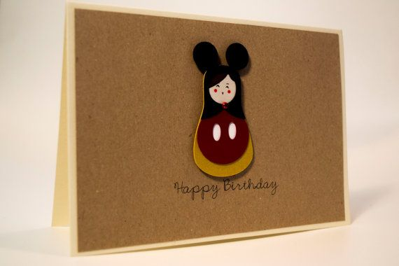 Unique handmade Birthday card/ Russian Doll, Matryoshka dressed up as a Micky Mouse, / 3D paper cut/ Kraft paper