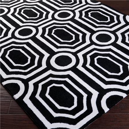 Mod Geometric Tufted Rug Black And White