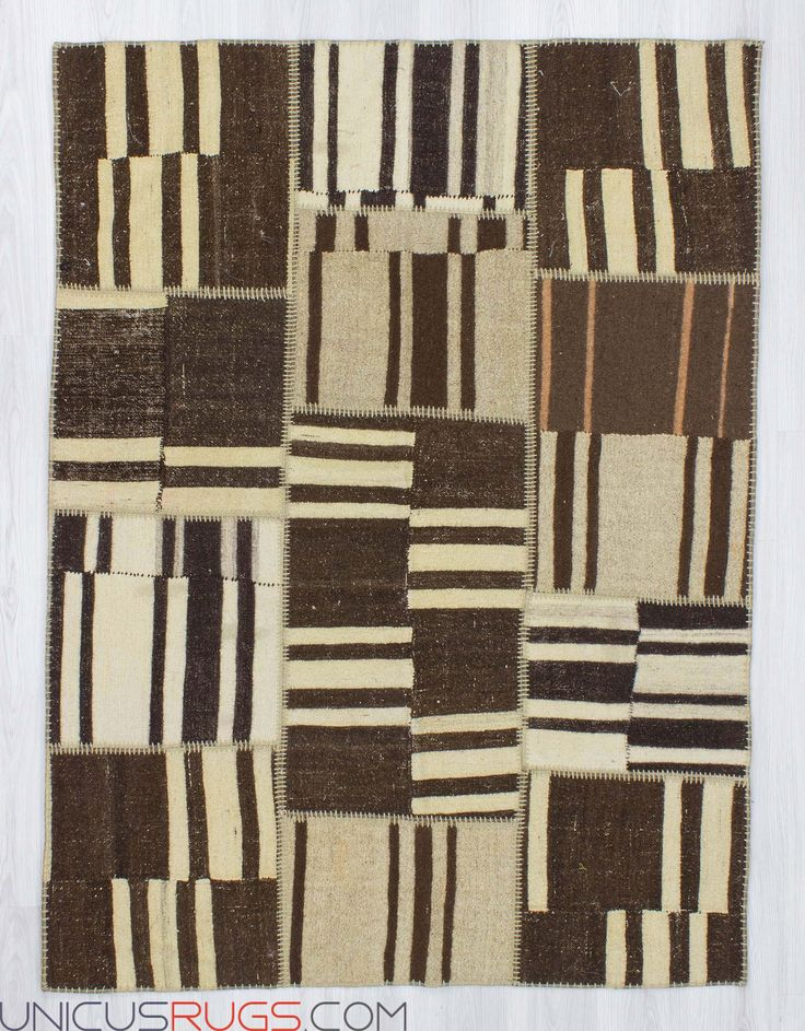 "Decorative  kilim patchwork made from handwoven kilim pieces and backed with good quality cotton fabric as reinforcement. In very good condition. Width: 4' 11"" - Length: 6' 7"" PATCHWORKS"