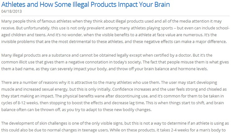 Athletes and How Some Illegal Products Impact Your Brain